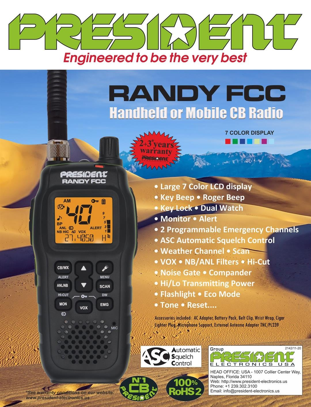 President Randy FCC Handheld or Mobile CB Radio with Weather Channel and Alerts